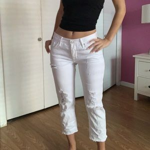 PACSUN: White Cropped Ankle Jeans